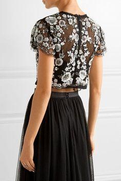Needle & Thread - Petal Embellished Tulle Top - Black - UK14