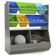 "Tot Tutors Elements Grey Mega Toy Storage Organizer - Tot Tutors - Toys ""R"" Us Living Room Toy Storage, Kids Room Organization, Playroom Ideas, Organizing Ideas, Large Stuffed Animals, Toy Trucks, Kids Store, Storage Bins, Storage Containers"