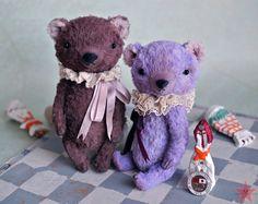 Teddy bear OOAK 6 inch tall handmade small by mishafromrussia
