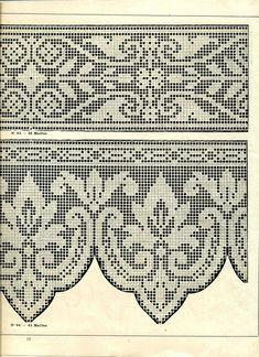 "Photo from album ""Edouard Boucherit - Grand album de modeles pour Filet on Yandex. Crochet Borders, Crochet Diagram, Filet Crochet, Crochet Stitches, Crochet Patterns, Crochet Curtains, Crochet Ornaments, Crochet Books, Filets"