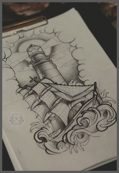 lighthouse and ship by Karviniya
