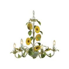 """AF Lighting 7048-4H Elements Series """"Kansas Sunflowers"""" Four-Light (66 KWD) ❤ liked on Polyvore featuring home, lighting, ceiling lights, antique cream, chandeliers, indoor lighting, mini chandeliers, flower chandelier, ivory chandelier and four light"""