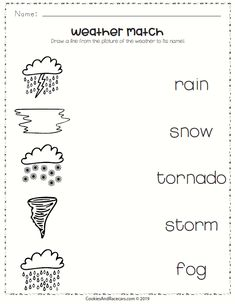 Weather Worksheet Pack includes this weather matching worksheet, plus 8 more FREE worksheets for a fun weather unit! Grade R Worksheets, Weather Worksheets, Science Worksheets, Lkg Worksheets, Therapy Worksheets, Number Worksheets, Alphabet Worksheets, Science Lesson Plans, Preschool Science