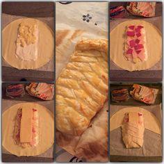 Le fameux chausson croisé : pâte feuilletée ,crème fraîche ,pdt cuite ,jambon ,fromage à raclette et oeuf pour dorure ...à 200° 20 mn
