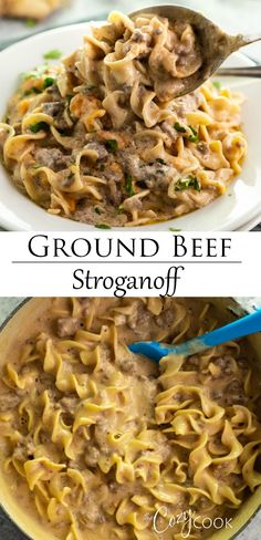 Ground Beef and Egg Noodles smothered in an. Ground Beef and Egg Noodles smothered in an easy stroganoff sauce. This freezer meal also works as a casserole and make ahead meal! Ground Beef Recipes For Dinner, Dinner With Ground Beef, Ground Beef Recipes Easy, Easy Dinner Recipes, Easy Meals, Ground Beef Dishes, Recipe With Ground Beef And Noodles, Ground Chuck Recipes Dinners, Recipies With Ground Beef