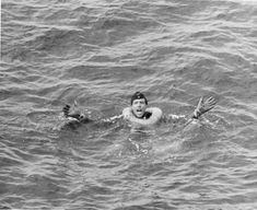Obersteurmann Helmut Klotzch of U-175 yelled for help after the submarine sank in the North Atlantic, 500 nautical miles WSW of Ireland, 17 Apr 1943 (US National Archives)