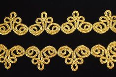 Gold, metallic mylar lace trim (Pointe de Venise), each segment is approx: 2 x 1 offered in 4 yard increments. Medieval Embroidery, Hand Work Embroidery, Embroidery Motifs, Embroidery Fashion, Hand Embroidery Designs, Beaded Embroidery, Motif Soutache, Chinese Fabric, Lace Tape