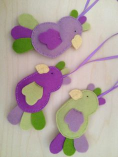 Set of 3 Easter Spring Parrot Montessori & Waldorf inspired Wool Felt Ornaments.