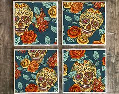 Sugar Skulls and Flowers, Set of 4 Drink Coasters, Day of the Dead Ceramic Tiles, Tribal Decor Bar Coasters, Made to Order