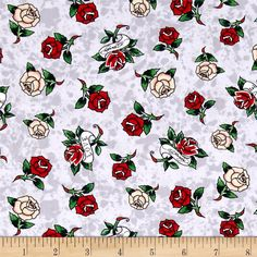 Ed Hardy Love Is True Roses Grey from @fabricdotcom  Designed by Ed Hardy and licensed to Quilting Treasures, this cotton print is perfect for quilting, apparel and home decor accents. Colors include red, green, grey, white, black and tan.