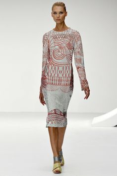 CURVES AHEAD: Stand out from the crowd in Mary Katrantzou's calligraphy-inspired printed sheath (marykatrantzou.com).