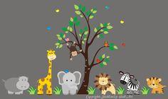 "Jungle Safari Animals Repositionable Reusable Wall Decal Baby Nursery 83"" x 156"""