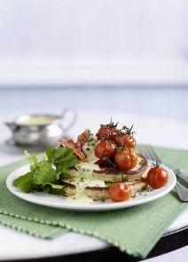 Pancakes with tomato chives