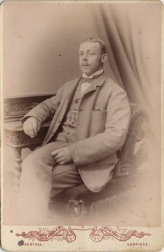 Cabinet photo of a Victorian Man taken in Uxbridge, London around 1890s by Edwin Oakenfull at his studio located at 66 St Andrews.