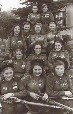Female snipers of the Soviet 3rd Shock Army, 1st Belorussian Front photographed near Berlin, May 4, 1945. Total confirmed kills for this group 775. Women snipers were deployed in great numbers in the Red Army to impressive effect.