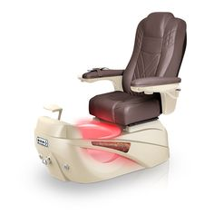 Luminous pedi-spa shown in Walnut Ultraleather cushion, Champagne base, Aurora LED Color-Changing bowl (shown in red)