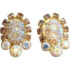 Juliana DeLizza & Elster Earrings Pressed Dimple Glass Rhinestone AB Book Piece