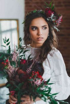 bridal bouquet of burgundy Wedding Make Up, Boho Wedding, Wedding Hairstyles, Burgundy, Bouquet, Crown, Bridal, Fashion, Moda