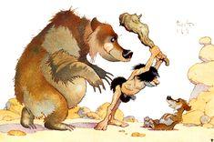 bear watching caveman threaten cub by Frank Frazetta