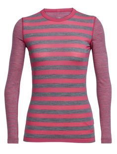 Icebreaker Merino Women's Sprite Long Sleeve Crewe Top, Pop Pink/Gritstone Heather/Stripe, Large. Sculpted body shape. Drop tail hem for added coverage. Core spun fabric for added durability.