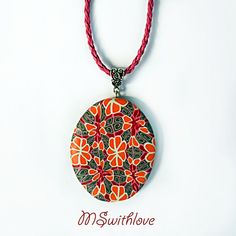 Polymer clay necklace. reversible necklace handmade by MSwithlove