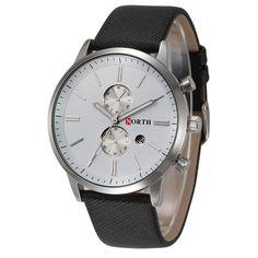 NORTH Mens Watches Luxury Fashion Genuine Leather Band Analog Quartz Watches