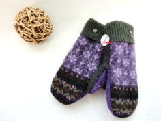 Felted Wool Mittens OLIVE & PURPLE Fair Isle Sweater Wool Mittens Upcycled by WormeWoole