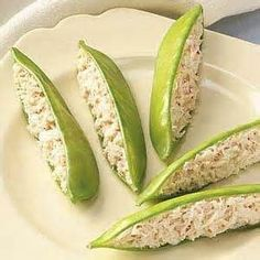Chicken salad in pea pods. Cute idea for a brunch or shower! by mariana