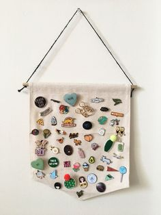 Pin Badge Display, Blank Canvas Banner, Canvas Wall Hanging, Canvas Pennant, Enamel Pin, Pin Badge, Pingame, #Pingame, Wall Banner, Pennant by theshabbystitchery on Etsy