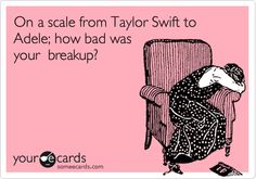 If your break-up was at the point of the scale for Taylor Swift then you know it was pretty bad!
