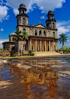 Managua Cathedral - Nicaragua  -  designed in, and shipped from Belgium in 1920  -  heavy damage in earthquakes of 1931 & 1972  led to condemnation but as of 2013 it's awaiting renovation.