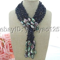 "H080801 50"" 3 Hebras Negro Perla Abalone shell necklace"
