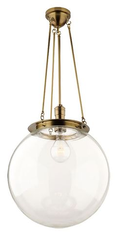 brass + glass globe pendant - to go with hardware on island (similar to green island)