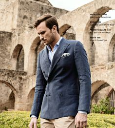 SPORTCOAT  $420  Blue Luxury Italian Linen SHIRT  $109  Light Blue Linen Blend Solid POCKET SQUARE  $49  Sea Blue Silk Pine Motif PANTS  $99  Khaki 5-Pocket Twill http://denisemcbride.jhilburn.com/lookbooks/spring-summer1-2014#1