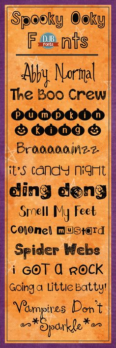 Spooky Ooky Fonts -- Don't let these fonts scare you! They are actually free for personal use from DarcyBaldwin.com!