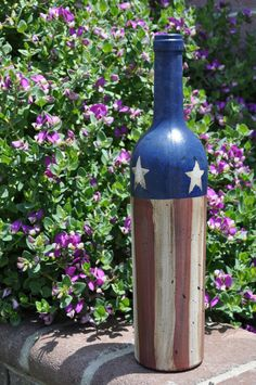 primitive painted wine bottle by primitivetomodernart on Etsy, $14.00