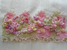 Silk Ribbon Embroidery Flowers ribbon embroidery and crazy quilts. I love ribbon embroidery. I need to get better at it. Silk Ribbon Embroidery, Beaded Embroidery, Cross Stitch Embroidery, Embroidery Patterns, Hand Embroidery, Embroidery Tattoo, Ribbon Art, Ribbon Crafts, Fabric Crafts