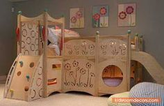 Beautiful Wooden Loft Bed For Girl With Slide, Nook, Climbing Wall And Ladder - http://www.kidsroomdecors.com/kids-room-decorating/beautiful-wooden-loft-bed-for-girl-with-slide-nook-climbing-wall-and-ladder.html