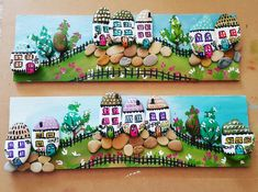 Handmade Painted Rock/Stone Houses as Gift or Home Decor Stone Crafts, Rock Crafts, Crafts To Make, Crafts For Kids, Diy Crafts, Pebble Painting, Pebble Art, Stone Painting, Pebble Stone