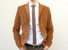 Knit Tie Skinny Necktie in Tobacco Tweed Brown Lambswool
