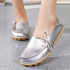 ccddcc646f9d Big Size Shine Lace Up Flat Soft Pure Color Leather Shoes
