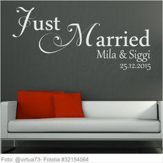 Wandtattoo Hochzeit Just Married mit Vornamen und Datum
