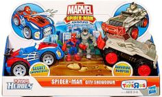 Marvel Playskool Super Hero Adventures Exclusive Playset SpiderMan City Showdown by Hasbro. $21.80. Recommended Age: 3 years and up. Your superhero SpiderMan figure is always ready for wallcrawling, webslinging adventures, and hes ready to save the day when he meets up with mischievous villains like your Rhino figure in this Playskool Heroes Marvel SpiderMan Adventures Playset  SpiderMan City Showdown! What will happen when your SpiderMan figure is in his sporty ra...