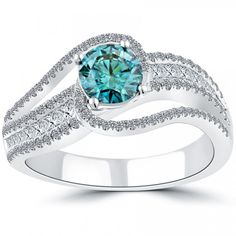1.94 Carat Fancy Blue Diamond Engagement Ring 14k White Gold Vintage Style