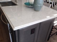 Final selection for our kitchen counters& master ensuite: quartz silestone lagoon with a waterfall ogee edge