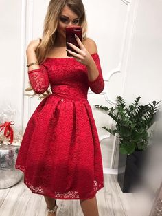 cbe8035492 Sukienka czerwona scarlett midi rozkloszowana odkryte ramiona