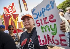 Fast-food workers protest outside a California branch of McDonald's.