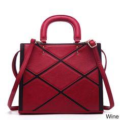 Pink Haley Acacia Patchwork Multicolor Faux Satchel Handbag
