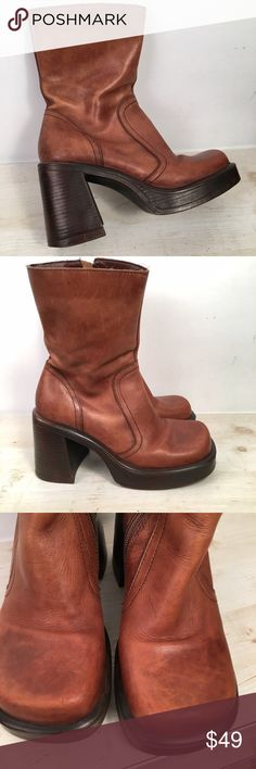 """Vintage Steve Madden """"Bridge"""" boots Vintage Steve Madden """"Bridge"""" Club Boot Circa  1990""""s  💟Pre Loved in excellent condition💟  💐There is a scuff mark on each of the Heels and front toe and a water mark on left boot ankle area. Both shown in Photos. Otherwise overall great condition for this boot.  💐Stacked Heel is 3 1/2"""" 💐Platform is 1"""" 💐Height from Heel to Opening is 8""""   📸Please review ALL photos for Condition.  💕Reasonable Offers accepted💕 🚫no Trades pls🚫 Steve Madden Shoes…"""