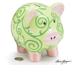 Precious Blessings Large Piggy Bank with Green and Pink Swirls and Stripes Adorable Baby Gift Item Pink Piggy Bank, Large Piggy Bank, Cute Baby Gifts, Baby Girl Gifts, Breast Cancer Crafts, Pig Bank, Baby Nursery Decor, Girl Nursery, Ceramic Painting